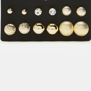 6 Pair of Golden Stud Earrings